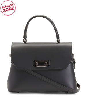 Made In Italy Leather Satchel With Lock And Strap