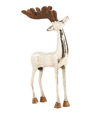 22in Metal Reindeer With Wood Antlers