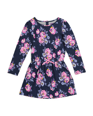 Girls Floral Sweatshirt Dress
