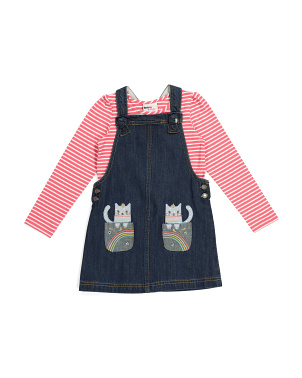 Toddler Girls Cat Rainbow Pocket Denim Jumper With Tee