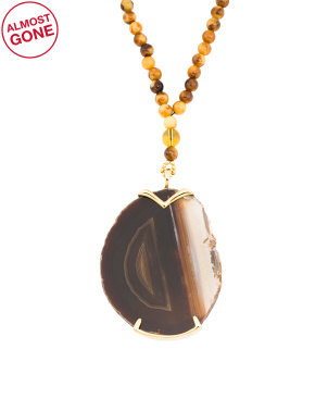 Made In Usa Agate Slice Necklace