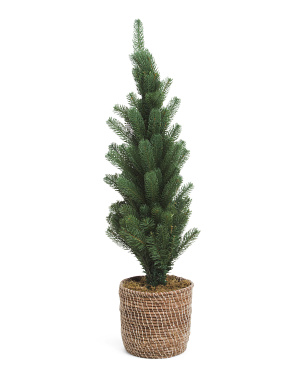 36in Faux Tree In Woven Basket