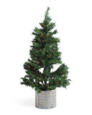 4ft Evergreen Tree In Embossed Patina Pot