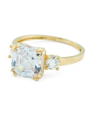 14k Gold And Cz Cushion Cut Engagement Ring