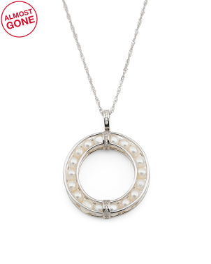 Sterling Silver Caged Pearl Circle Necklace