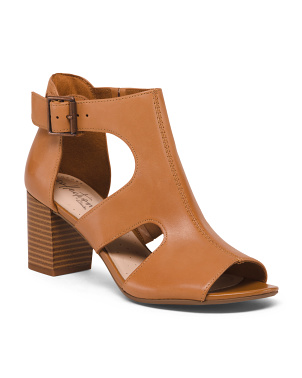 Smooth Leather Stacked Heel Comfort Sandals