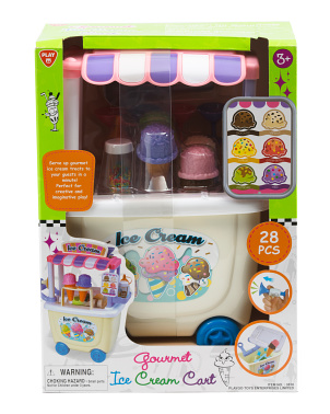28pc Ice Cream Cart Gourmet Play Set