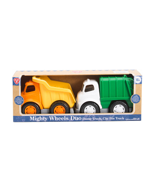2pk Mighty Wheels Duo Dump Truck & City Bin Truck