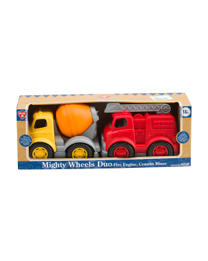 2pk Mighty Wheels Duo Fire & Cement Trucks
