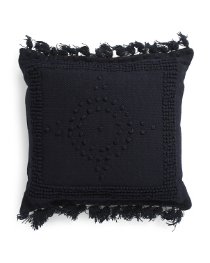 26x26 Oversized Woven Pillow With Tassels