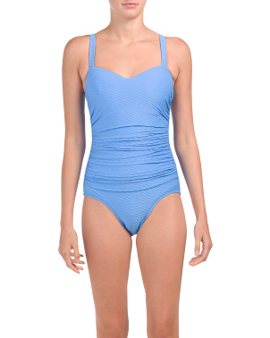 D Cup Ribbons Tummy Control One-piece Swimsuit