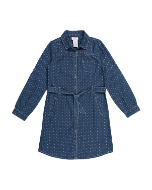 Big Girls Polka Dot Denim Shirt Dress