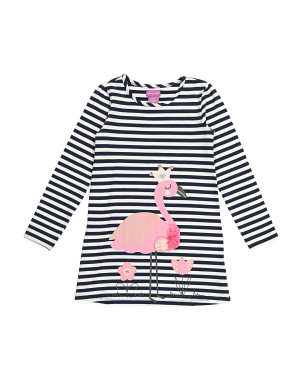Toddler Girls Jersey Striped Flamingo Dress