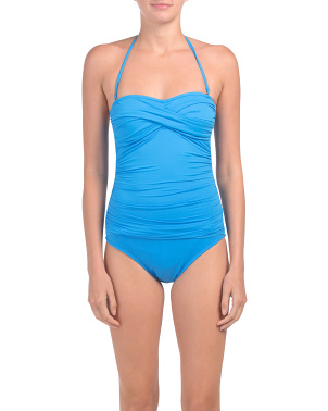 Island Goddess Twist Bandeau One-piece Swimsuit