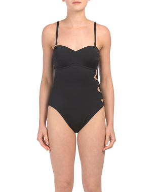 Solid Cutout One-piece Swimsuit