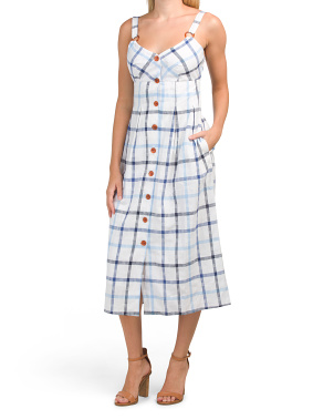Summer Button Front Gingham Midi Dress