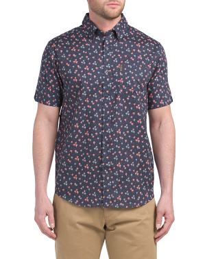 Short Sleeve Palm Shadow Print Shirt