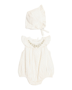 Baby Girls Embroidered Bubble Romper With Bonnet