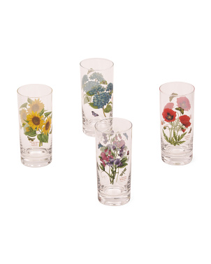 Set Of 4 Botanic Garden Hiball Glasses