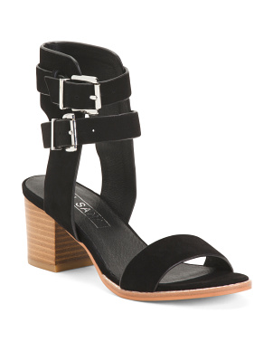 Double Buckle Suede Sandals