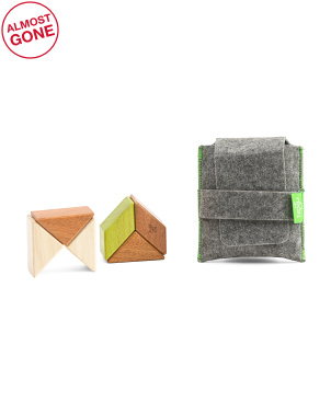 6pc Pocket Pouch Prism Wooden Block Sets
