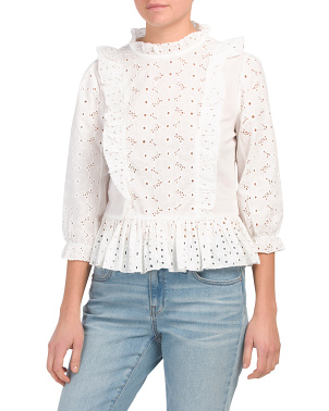 Eyelet Top With Ruffle Details