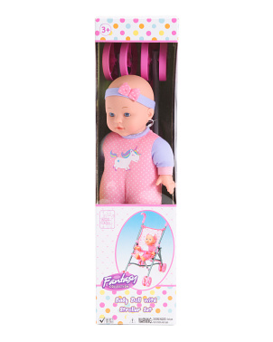 12in Doll With Unicorn Stroller