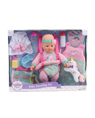 16in Baby Doll Travel Unicorn Set