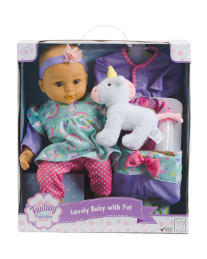 16in Lovely Baby With Plush Unicorn