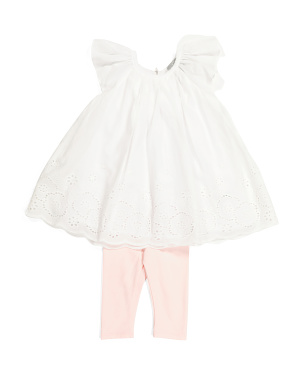 Infant Girls Flutter Sleeve Tunic Set