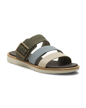 Flat Leather Slide Sandals