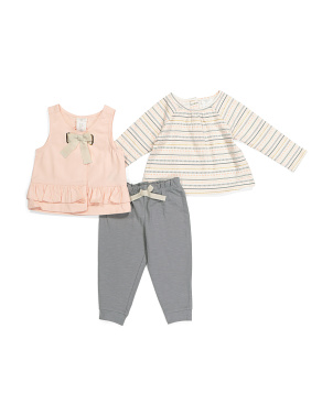 Infant Girls 3pc Legging Set With Vest