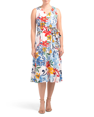 Petite Printed Crepe Dress