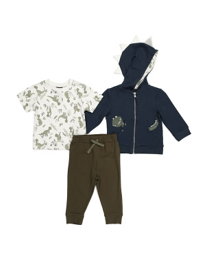 Infant Boys 3pc Dino Hoodie Set
