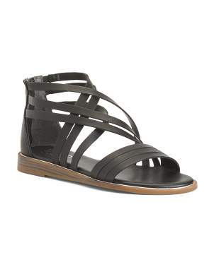 Low Wedge Cushioned Leather Sandals