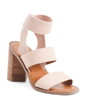 Leather And Fabric Block Heel Sandals