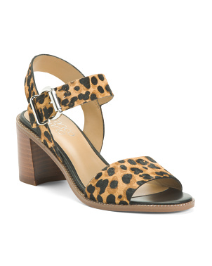 Leopard Haircalf Stacked Heel Sandals