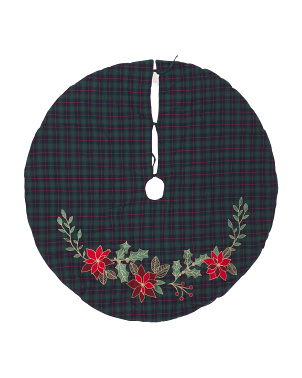 Holly Garland On Plaid Tree Skirt