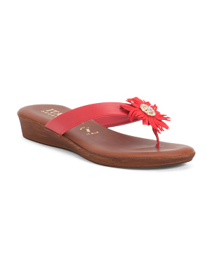 Made In Italy Flower Thong Sandals