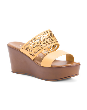 Made In Italy Laser Cut Wedge Sandals