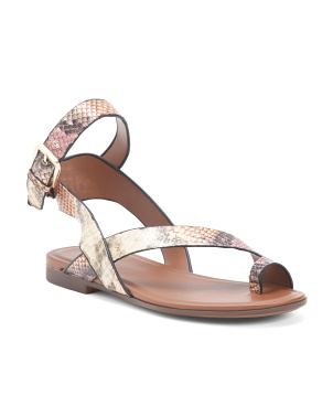 Leather Snake Print Toe Ring Comfort Sandals