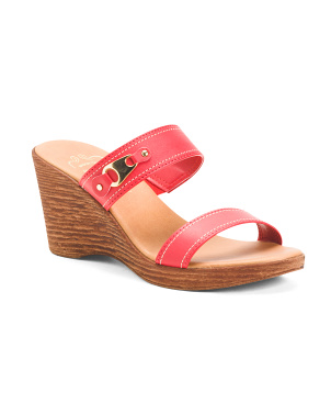Made In Italy Two Band Buckle Detail Wedge Sandals