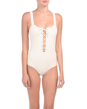 Raquel Ribbed Tie Front One-piece Swimsuit