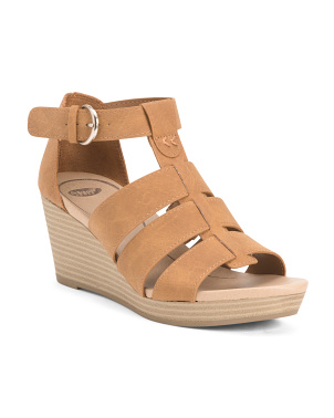 Snake Embossed Ankle Strap Comfort Wedges