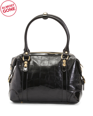 Made In Italy Croc Leather Satchel