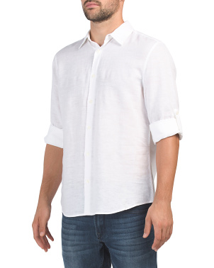 Untucked Roll Sleeve Linen Blend Shirt