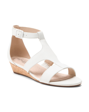 Cork Wedge Comfort Leather Sandals