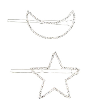 Set Of 2 Moon And Star Pins