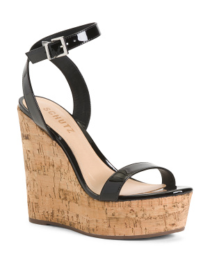 Made In Brazil Patent Leather Platform Cork Wedge Sandal