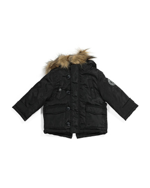 Infant Boys Faux Fur Hooded Parka